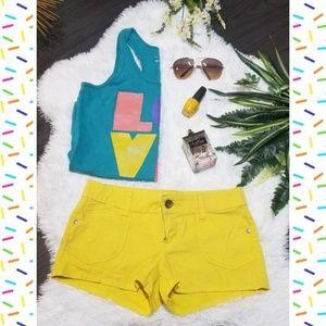 "Lei ""Ashley Lowrise"" Sunflower Yellow Shorts🌻"